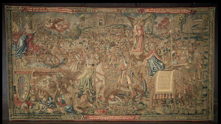 Triunfo de la Fama, c. 1507-1510, Londres, Victoria &; Albert Museum. Fuente: http://collections.vam.ac.uk/item/O173582/the-triumph-of-fame-over-tapestry-unknown/