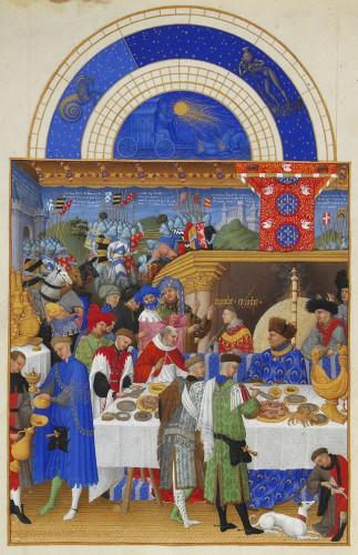 El mes de enero. Página del calendario de Las muy ricas horas, de los hermanos Limbourg (1411–1416) (Museo Condé). Fuente: Limbourg brothers [Public domain], via Wikimedia Commons.
