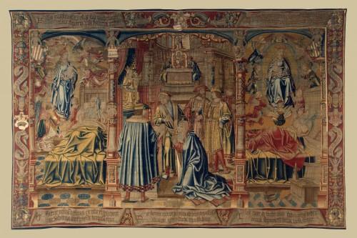 Segundo paño de la serie de la Leyenda de Notre Dame du Sablon. Fuente: (http://www.hermitagemuseum.org/wps/portal/hermitage/digital-collection/11.+Textiles%2C+Tapestry/264876/?lng=es