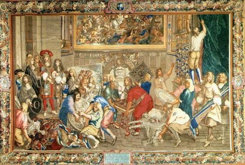 LE BRUN, Charles. Luis XIV visitando la manufactura de los Gobelinos. 1673 Musée National du Château, Versailles. Fuente:  http://www.histoire-image.org/site/oeuvre/analyse.php?i=1267