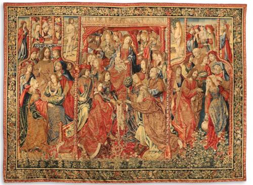 Vida de la Virgen. Cumplimiento de las profecías en el nacimiento de Cristo, c. 1502, lana, seda y oro, 340 x 400 cm. Zaragoza, Museo de Tapices de La Seo.