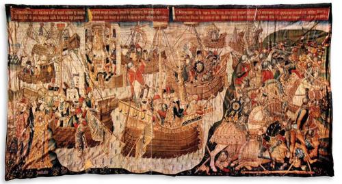 xpedición de Bruto a Aquitania, tercer cuarto del siglo XV, ¿Tournai?, lana y seda, 410 x 790 cm. Zaragoza, Museo de Tapices de La Seo.