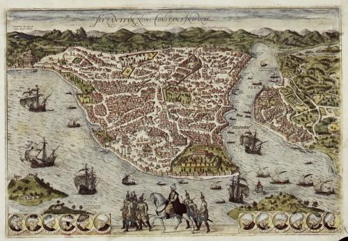 Estambul en el Civitates Orbis Terrarum de Hogenberg y Braun. Ed. de 1593. Fuente: https://commons.wikimedia.org/wiki/File:Braun_Bzyantium_Constantinopolis_HAAB.jpg. Licencia: Public Domain.