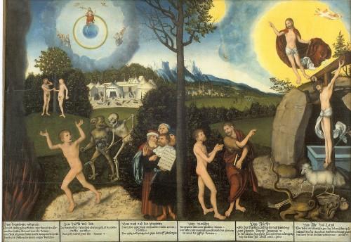La Ley y el Evangelio (1529), Lucas Cranach el Viejo. Fuente: https://en.wikipedia.org/wiki/File:Cranach_Gesetz_und_Gnade_Gotha.jpg. Licencia: Public Domain.